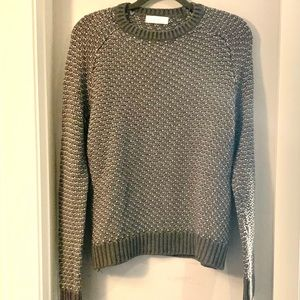OAK + FORT Charcoal Scoop Neck Cable Knit Sweater